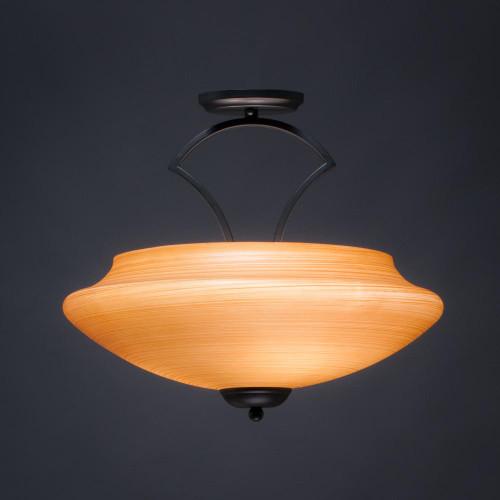 Zilo 3 Light Tan Semi-Flushmount Ceiling Light-565-MB-686 by Toltec Lighting