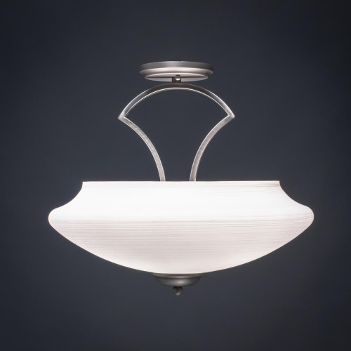 Zilo 3 Light White Semi-Flushmount Ceiling Light-565-GP-687 by Toltec Lighting