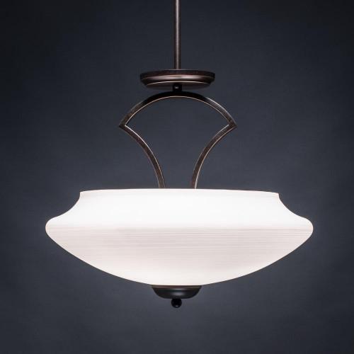 Zilo 3 Light White Semi-Flushmount Ceiling Light-565-DG-687 by Toltec Lighting
