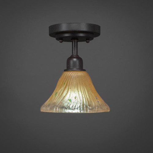 Vintage 1 Light Amber Semi-Flushmount Ceiling Light-280-DG-750 by Toltec Lighting