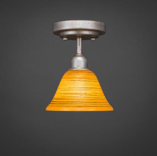 Vintage 1 Light Rust Semi-Flushmount Ceiling Light-280-AS-454 by Toltec Lighting