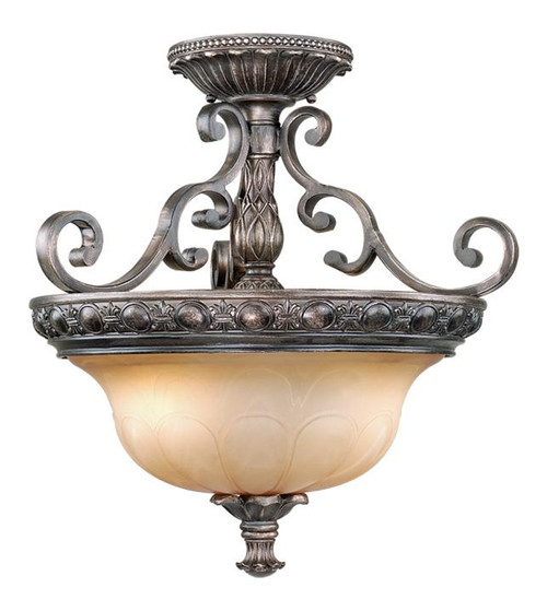 Bellagio 2 Light Amber Semi-Flushmount Ceiling Light-BG-CFU180PZ by Vaxcel Lighting