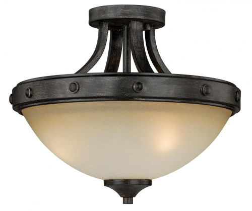 Halifax 2 Light Cream Semi-Flushmount Ceiling Light-C0077 by Vaxcel Lighting