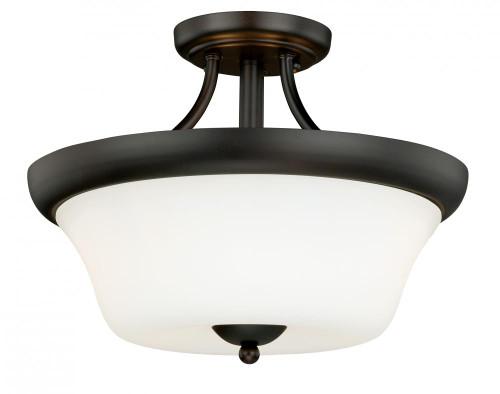 Poirot 2 Light Alabaster Semi-Flushmount Ceiling Light-C0065 by Vaxcel Lighting