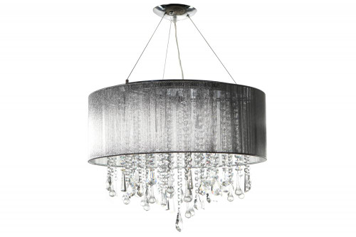 Chandeliers By Avenue Lighting BEVERLY DR. ROUND SILVER SILK STRING SHADE AND CRYSTAL DUAL MOUNT Drum Shade in Silver Silk String HF1500-SLV