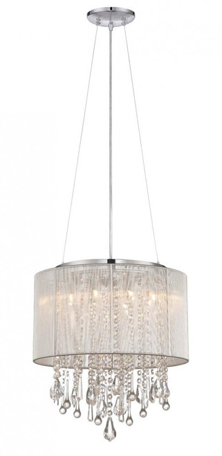 Chandeliers/Mini Chandeliers By Avenue Lighting BEVERLY DR. ROUND SILVER SILK STRING SHADE AND CRYSTAL DUAL MOUNT Drum Shade in Silver Silk String HF1501-SLV