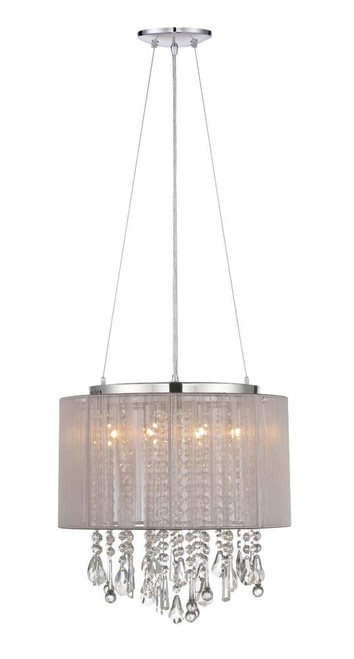 Chandeliers/Mini Chandeliers By Avenue Lighting BEVERLY DR. ROUND TAUPE SILK STRING SHADE AND CRYSTAL DUAL MOUNT Drum Shade in Gray HF1501-TP