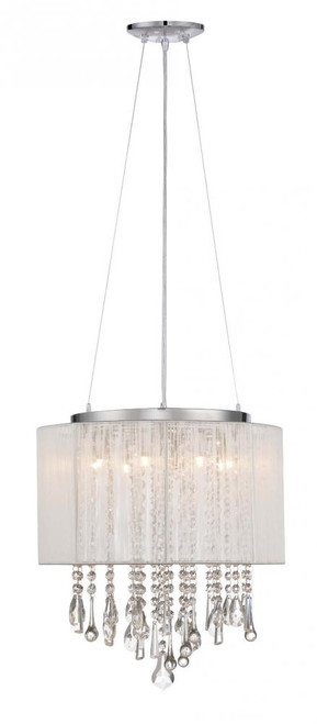 Chandeliers/Mini Chandeliers By Avenue Lighting BEVERLY DR. ROUND WHITE SILK STRING SHADE AND CRYSTAL DUAL MOUNT Drum Shade in White Silk String HF1501-WHT