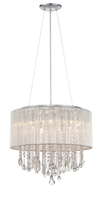 Chandeliers By Avenue Lighting BEVERLY DR. ROUND SILVER SILK STRING SHADE AND CRYSTAL DUAL MOUNT Drum Shade in Silver Silk String HF1502-SLV