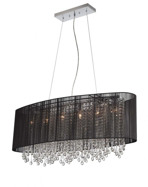 Chandeliers By Avenue Lighting BEVERLY DR. COLLECTION OVAL BLACK SILK STRING SHADE AND CRYSTAL DUAL MOUNT HF1503-BLK