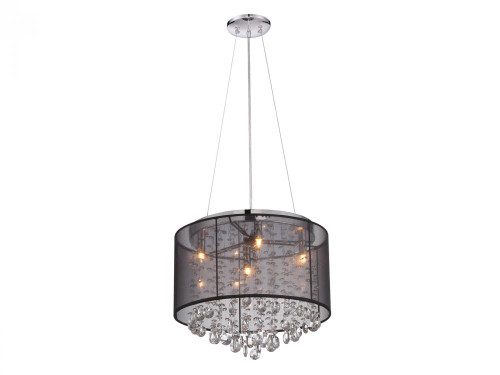 Chandeliers/Mini Chandeliers By Avenue Lighting RIVERSIDE DR. ROUND BLACK ORGANZA SILK SHADE AND CRYSTAL DUAL MOUNT Drum Shade Chandeliers in Black HF1504-BLK