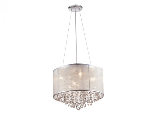 Chandeliers/Mini Chandeliers By Avenue Lighting RIVERSIDE DR. ROUND SILVER ORGANZA SILK SHADE AND CRYSTAL DUAL MOUNT Drum Shade Chandeliers in Silver Organza Silk HF1504-SLV