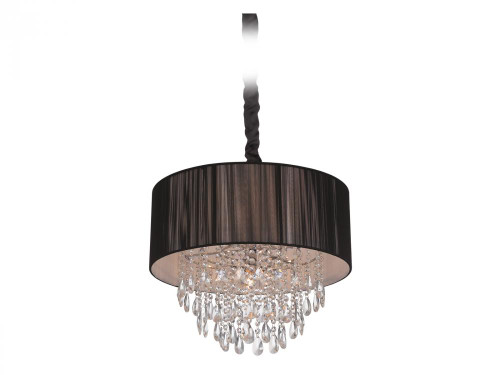 Chandeliers By Avenue Lighting VINELAND AVE. COLLECTION BLACK LINED SILK STRING SHADE AND CRYSTAL HANGING FIXTURE HF1506-BLK