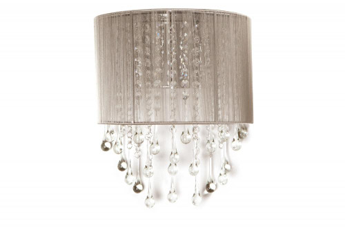 Wall Lights By Avenue Lighting BEVERLY DRIVE COLLECTION TAUPE SILK STRING AND CRYSTAL WAL SCONCE HF1511-TP