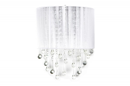 Wall Lights By Avenue Lighting BEVERLY DRIVE COLLECTION WHITE SILK STRING AND CRYSTAL WAL SCONCE HF1511-WHT