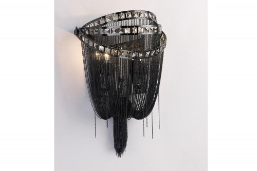 Wall Lights By Avenue Lighting WILSHIRE BLVD. COLLECTION BLACK CHROME CHAIN AND SMOKE CRYSTAL WALL SCONCE HF1607-BLK