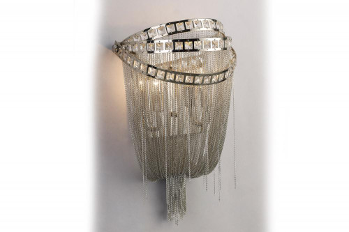 Wall Lights By Avenue Lighting WILSHIRE BLVD. COLLECTION POLISH NICKEL CHAIN AND CRYSTAL WALL SCONCE HF1607-NCK