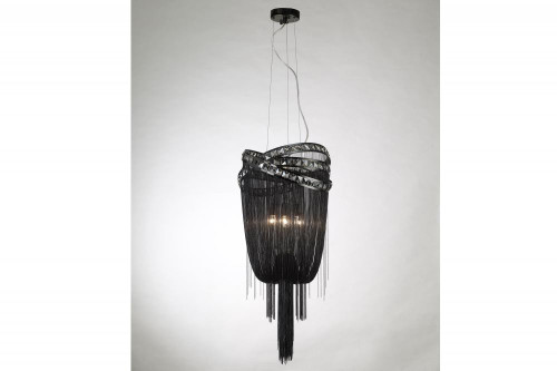 Wall Lights By Avenue Lighting WILSHIRE BLVD. BLACK STEEL CHAIN FOYEAR HANGING FIXTURE Modern in Chrome HF1608-BLK