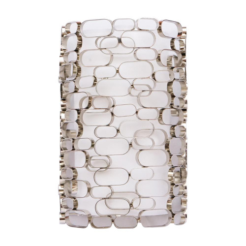 Wall Lights By Avenue Lighting VENTURA BLVD. COLLECTION POLISH NICKEL OVAL PATTERN / WHITE SLIK SHADE WALL SCONCE HF1705-PN