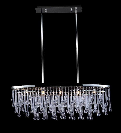Chandeliers/Linear Suspension By Avenue Lighting HOLLYWOOD BLVD. COLLECTION POLISHED NICKEL AND TEAR DROP CRSYTAL OVAL HANGING FIXTURE HF1806-PN