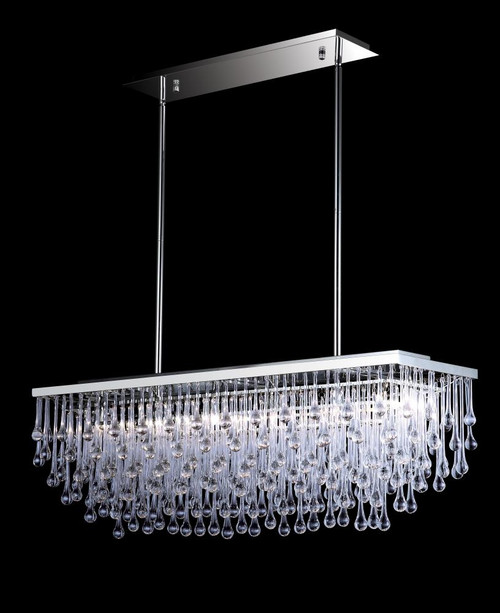 Chandeliers/Linear Suspension By Avenue Lighting HOLLYWOOD BLVD. COLLECTION POLISHED NICKEL AND TEAR DROP CRYSTAL RECTANGLE HANGING FIXTURE HF1807-PN