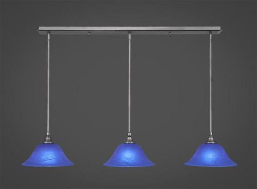 3 Light Blue Mini-Pendant Light-36-BN-435 by Toltec Lighting