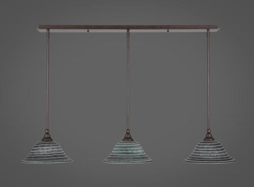 3 Light Rust Mini-Pendant Light-36-BRZ-432 by Toltec Lighting