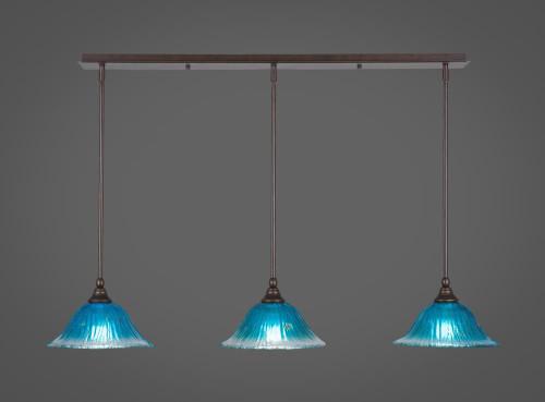 3 Light Blue Mini-Pendant Light-36-BRZ-438 by Toltec Lighting
