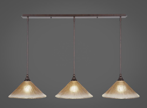 3 Light Amber Mini-Pendant Light-36-BRZ-700 by Toltec Lighting