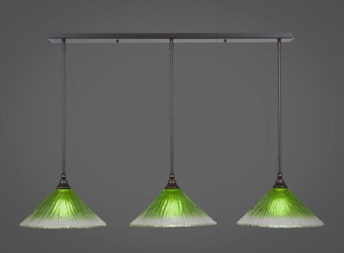 3 Light Green Mini-Pendant Light-36-DG-447 by Toltec Lighting