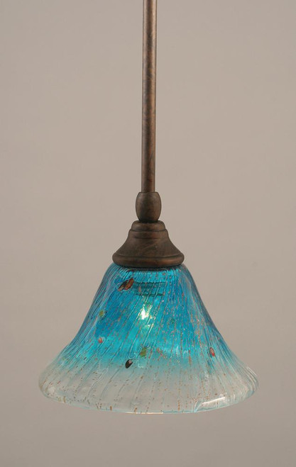 1 Light Blue Mini-Pendant Light-23-BRZ-458 by Toltec Lighting