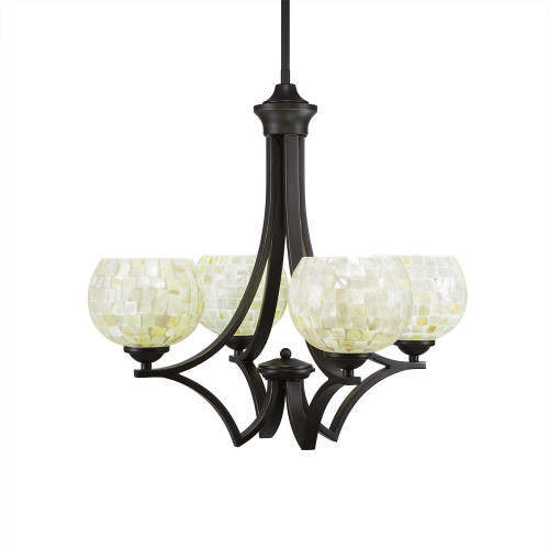 Zilo 4 Light Beige Chandelier-564-DG-405 by Toltec Lighting