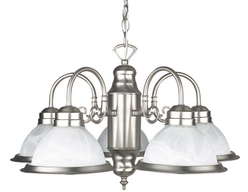 5 Light Silver Chandelier-F6315-53 by Sunset Lighting
