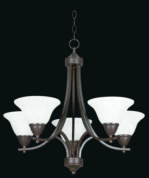 5 Light Bronze Chandelier-F5165-62 by Sunset Lighting