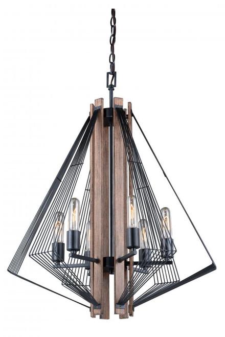 Dearborn 6 Light Black Chandelier-H0182 by Vaxcel Lighting