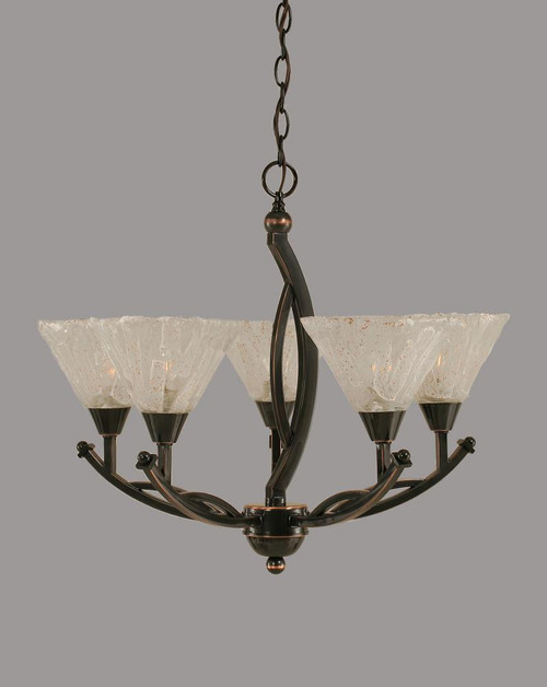 Bow 5 Light White Chandelier-275-BC-7195 by Toltec Lighting
