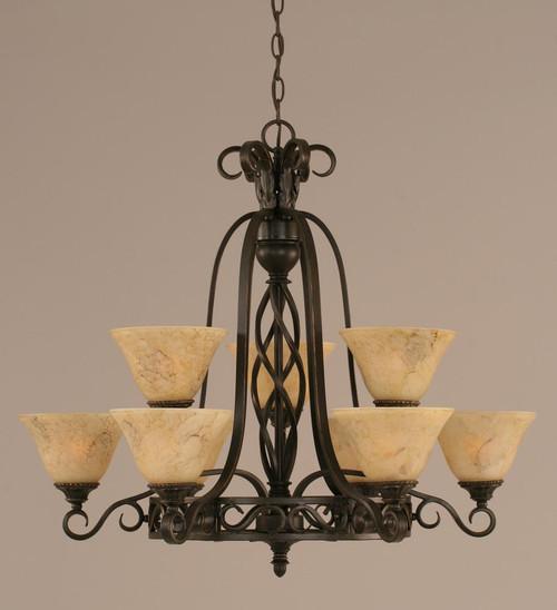 Elegante 9 Light Beige Chandelier-869-DG-508 by Toltec Lighting