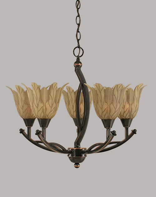 Bow 5 Light Cream Chandelier-275-BC-1025 by Toltec Lighting