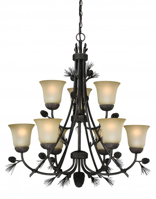 Sierra 9 Light Cream Chandelier-H0171 by Vaxcel Lighting