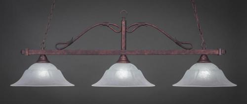 Scroll 3 Light White Pendant Light-823-BRZ-53615 by Toltec Lighting
