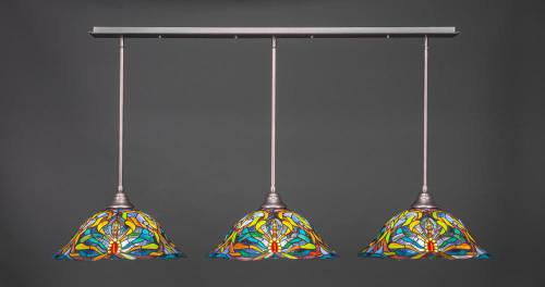 3 Light Multi Colored Pendant Light-48-BN-990 by Toltec Lighting