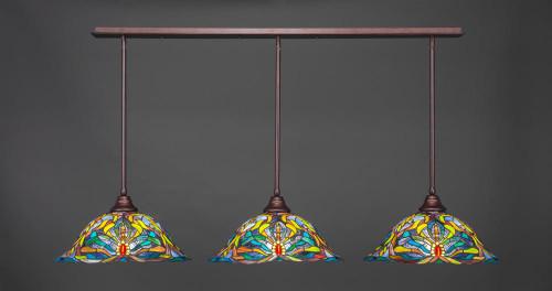 3 Light Multi Colored Pendant Light-48-BRZ-990 by Toltec Lighting