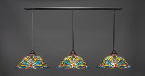 3 Light Multi Colored Pendant Light-48-DG-990 by Toltec Lighting