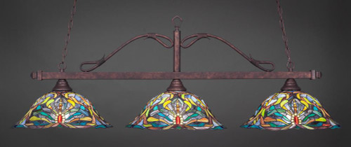 Scroll 3 Light Multi Colored Pendant Light-823-BRZ-990 by Toltec Lighting