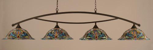 Bow 4 Light Multi Colored Pendant Light-874-DG-990 by Toltec Lighting