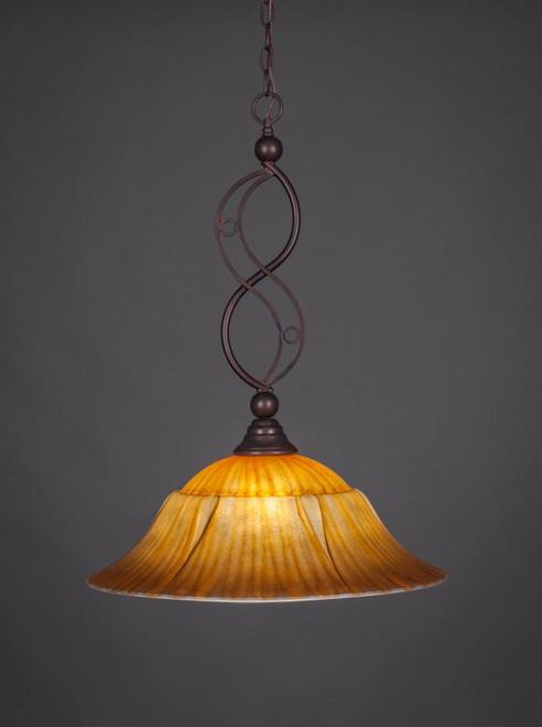 Jazz 1 Light Rust Pendant Light-231-BRZ-53819 by Toltec Lighting