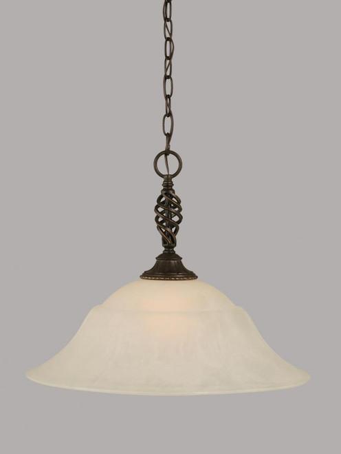Elegante 1 Light White Pendant Light-82-DG-53815 by Toltec Lighting