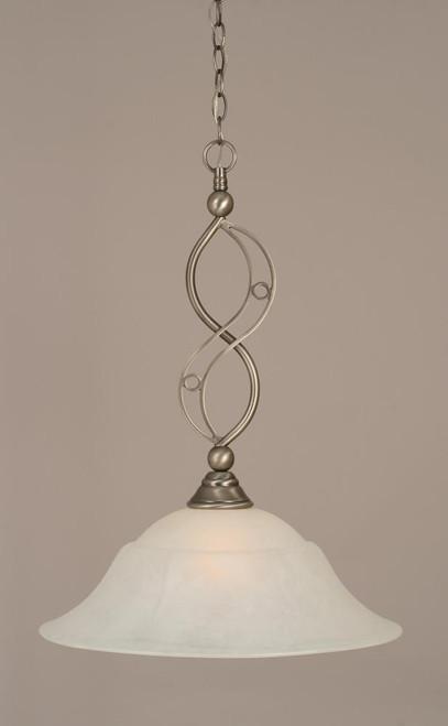 Jazz 1 Light White Pendant Light-231-BN-53815 by Toltec Lighting