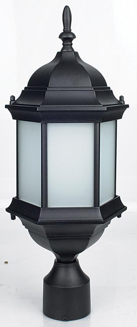 20 Inch 1 Light Post Ct Al Frst Glass Black-F7972-31 by Sunset