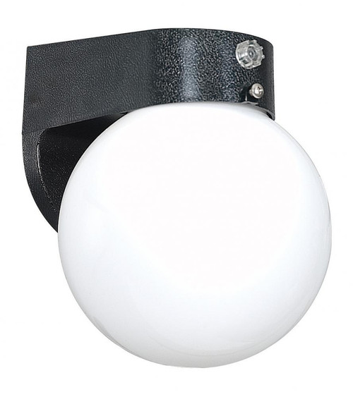 One Light Black Wall Fixture With Photo Cell Poly Globe-F4307-31 by Sunset Lighting